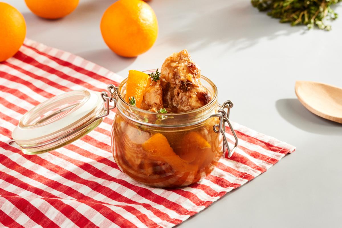 Conejo en escabeche de naranja y tomillo limonero